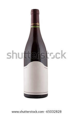 isolated green bottle for wine with blank tag