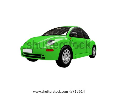 isolated green bug car on a white background