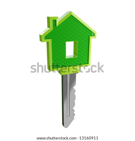 isolated green eco house key03