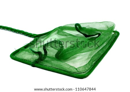 Isolated green fish net used for aquariums at home.