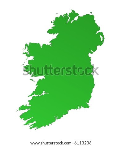 Isolated green gradient map of Ireland