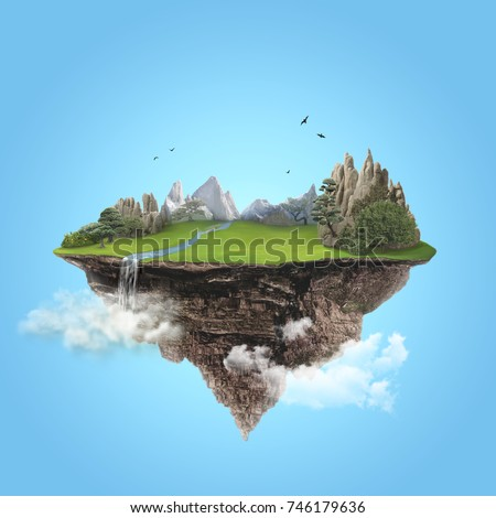 Isolated green island with mountain and waterfall flying high in the blue sky
