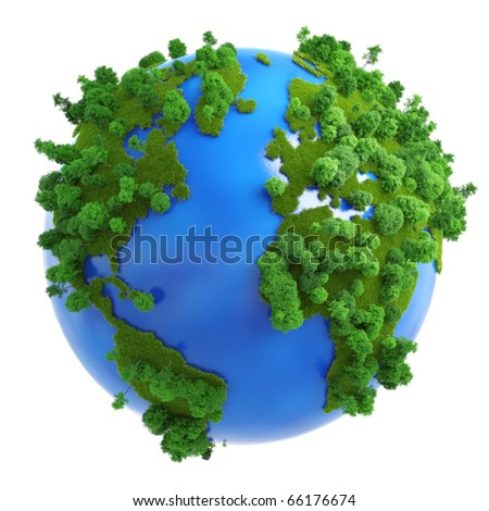 Isolated green planet concept with green grass and trees on the continents and blue on the oceans.