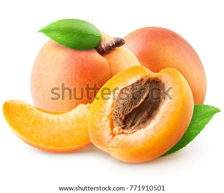 Isolated group of apricots. Two whole apricot, piece, half with leaves isolated on white background with clipping path Сток-фото ©