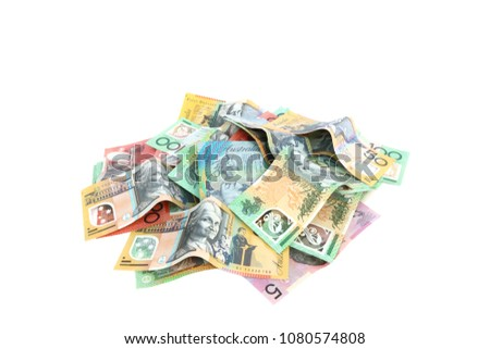 Isolated group of colorful australian money banknote dollar (AUD) pile on white background
