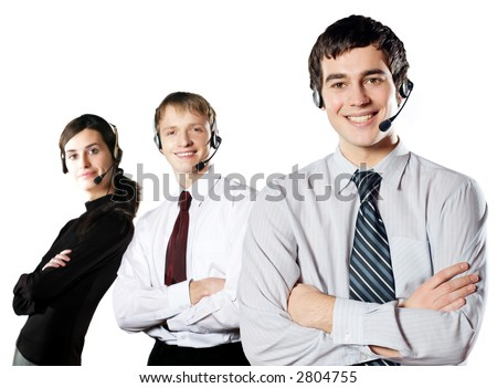 "Isolated group of young happy smiling business people with headset. Concept is ""friendly support team"". To provide maximum quality, I have made this image by combination of two photos."