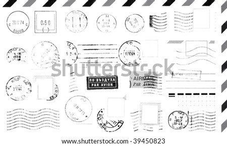 Isolated grunge postage marks collection for paper mail, easy to select and recolor desired element