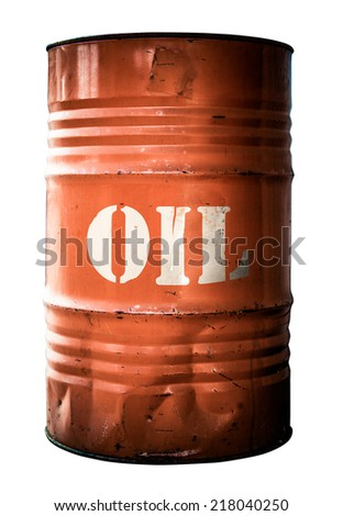 isolated grungy orange oil drum ...