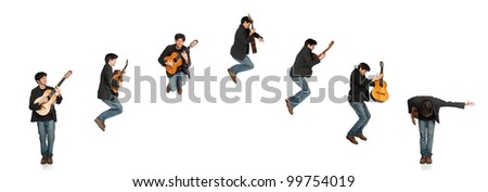 Isolated Guitar Player Jumping then Bowing Sequence (arch)