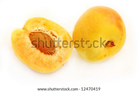 isolated half and full apricots