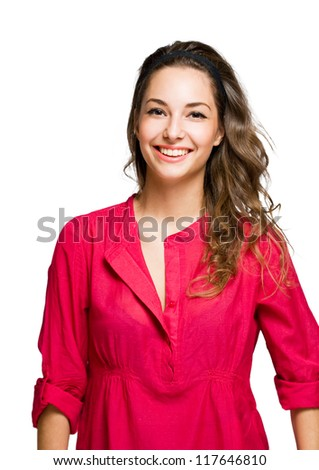 Isolated half length portrait of a happy brunette woman.