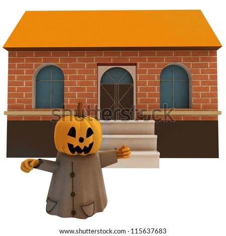 isolated halloween pumpkin witch in front of house background render illustration