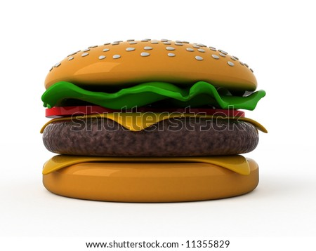 Isolated hamburger on white background - stock photo