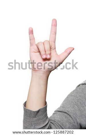 isolated hand showing love sign in white background