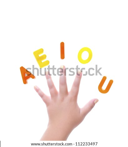 Isolated hand with letters a e i o and u.