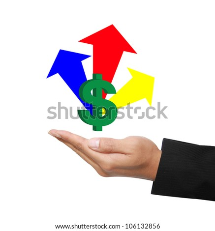 isolated hand with raising profit