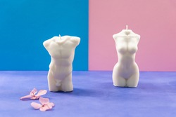 Isolated handmade soy wax candles on the colored background. Man and woman bodies made of a wax. Romantic shapes for candles. Close up on two aroma candles. Flowers and plants around the candles.