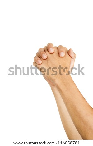 isolated hands hold together as praying or begging gestures.