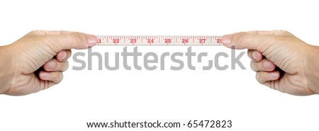 isolated hands measuring by tape measure isolated