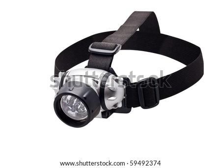 isolated headlamp flashlight with straps for the head