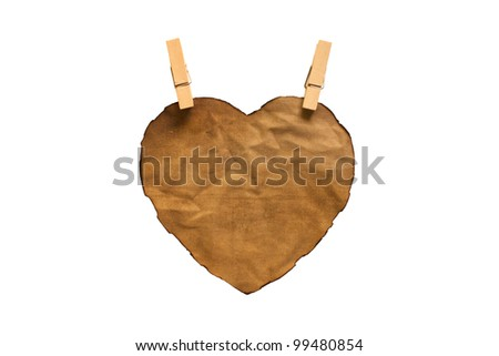 isolated heart-shaped cloth on white background