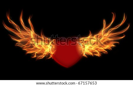 Isolated heart with wings in fire and flame