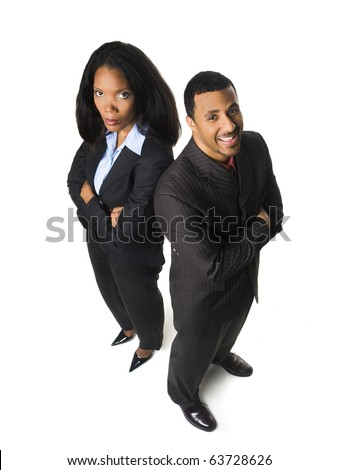 Isolated high angle glass ceiling concept shot of a happy businessman and an upset businesswoman.
