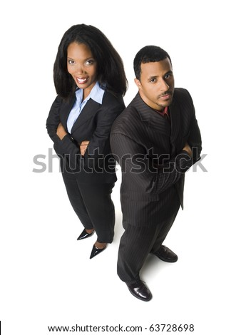 Isolated high angle glass ceiling concept shot of a happy businesswoman and an upset businessman.