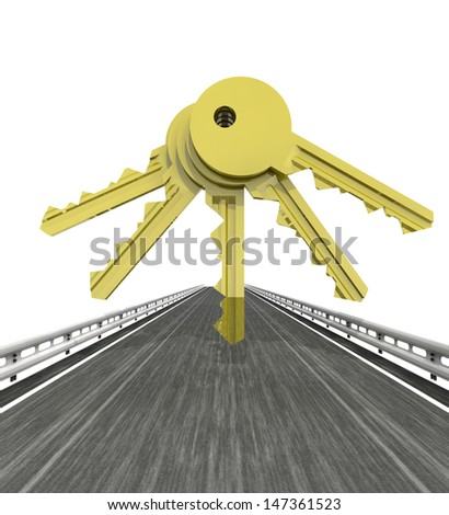 isolated highway with five golden keys illustration
