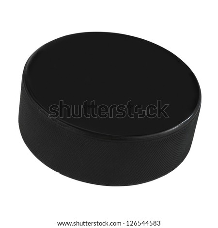 Isolated hockey puck over white background with clipping path