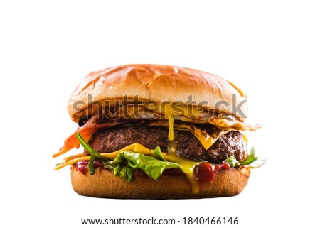 Isolated Homemade beef burger delicious fastfood