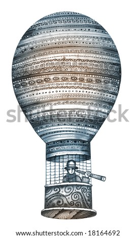 Isolated hot air balloon. Illustration by Eugene Ivanov.