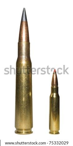 Isolated huge fifty caliber cartridge towering over a .308 cartridge and bullet