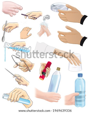Isolated human hands in various daily activities: prodding, grasping, grasping, squeezing, pinching, holding, opening, closing, counting, etc. Zdjęcia stock ©