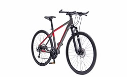 Isolated Hybrid Gent Mountain Bike With Black And Red Color In Perspective View