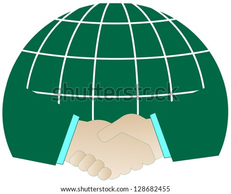 isolated icon with successful handshake and green planet