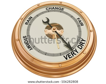 Isolated illustration of a barometer indicating very dry conditions