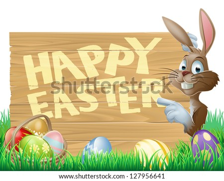 Isolated illustration of a cute happy Easter Bunny pointing at a message reading Happy Easter