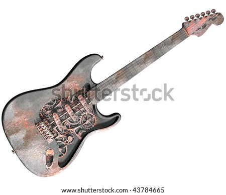 Isolated illustration of a dirty grungy steam punk guitar
