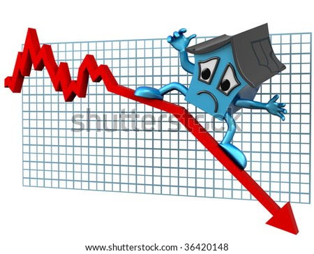 Isolated illustration of a house surfing downwards on a declining graph
