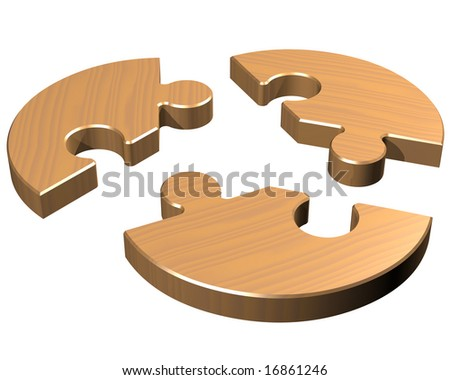 Isolated illustration of a round jigsaw with three pieces