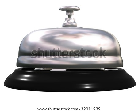 Isolated illustration of a silver and black reception bell