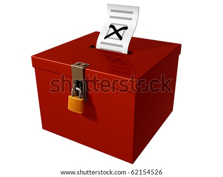 Isolated illustration of a stylized ballot box
