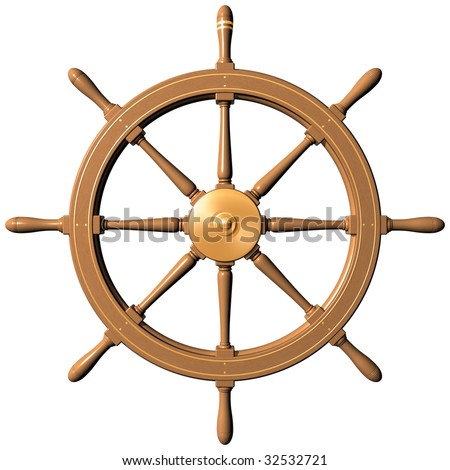 Isolated illustration of a traditional ships wheel