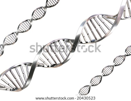 Isolated illustration of double helix DNA strands