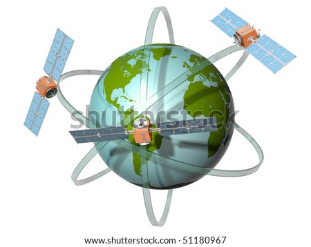 Isolated illustration of satellites orbiting the earth