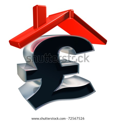 Isolated illustration showing the cost of a house