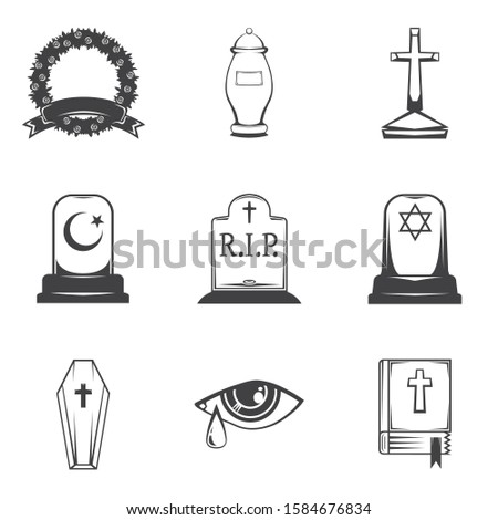 isolated image burial, headstones, graves, funerals and cemeteries. Monochrome line symbols of sorrow and grief. Funeral services and printing. Set of 9 graphic icons