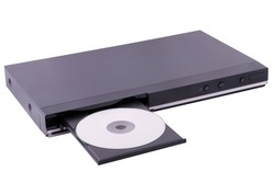 Isolated image of a generic DVD player with the disk ejected.