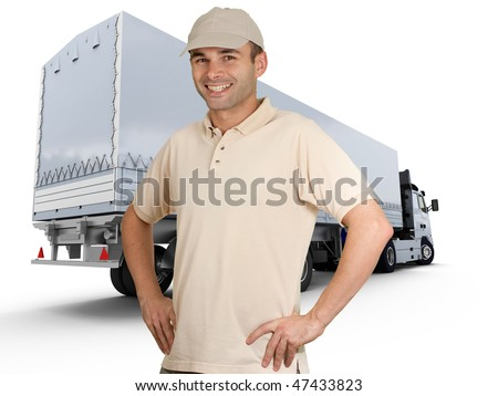 Isolated image of a man in front of a trailer truck
